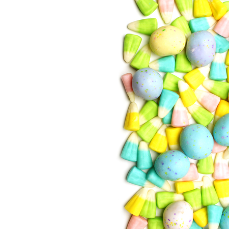 candy border: Easter candy border over a white background Stock Photo