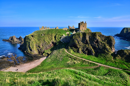 Ruins of Dunnottar Castle along the coast of Scotland Editorial
