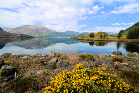View of the lochs and highlands of Scotland during early spring