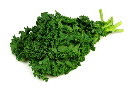 cabbage: Bunch of fresh kale over a white background