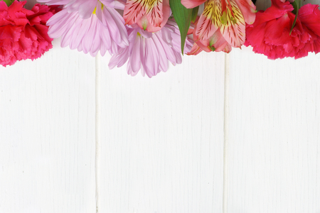 Top border of pink carnation, daisy and lily flowers against a white wood background