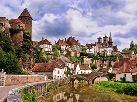 Picturesque medieval town of Semur en Auxois Burgundy France