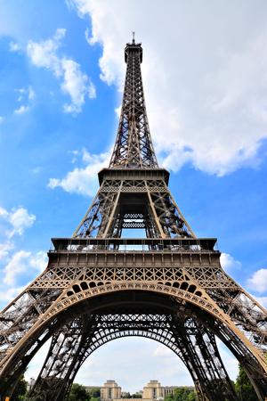 upward: Famous Eiffel Tower Paris France upward view with blue sky Stock Photo