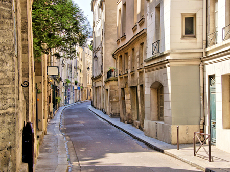 Beautiful quaint street in the Latin Quarter of Paris France