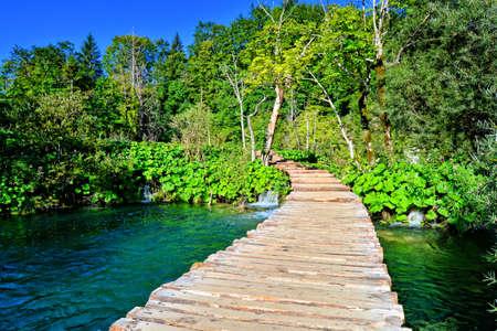 plitvice: Boardwalk through the beautiful landscape of Plitvice Lakes National Park Croatia Stock Photo