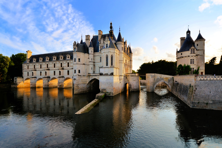 loire: Beautiful Chateau de Chenonceau at dusk over the River Cher Loire Valley France Editorial