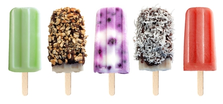 fruit bars: Variety of unique popsicle desserts isolated on a white background Stock Photo