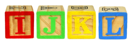 learning series: I J K L wooden toy letter blocks isolated on white