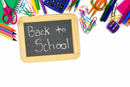 white back: Back to School chalkboard on a white background with school supplies top border