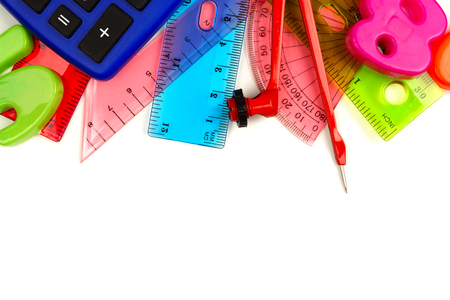 blue green background: Border of colorful school supplies with math theme on a white background Stock Photo