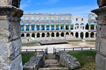 roman amphitheater: Roman amphitheater of Pula Croatia view through the ancient walls