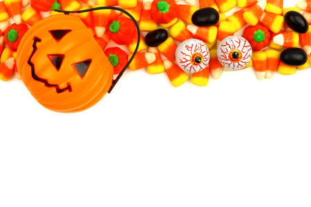 arrangment: Halloween Jack o Lantern candy holder with candy top border