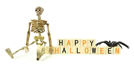 decoration: Happy Halloween wooden blocks with toy skeleton and spider isolated on a white background