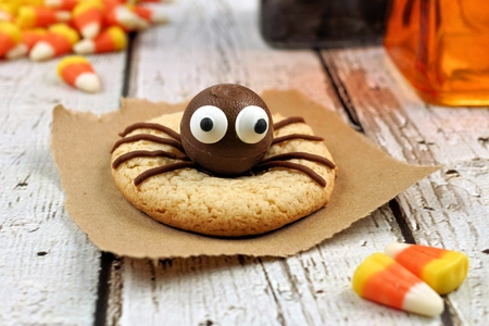 spider: Single Halloween spider cookie on a rustic white wood background with candy corn Stock Photo