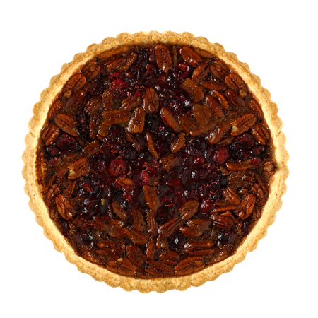 one object: Pecan and cranberry autumn pie, above view isolated on a white background