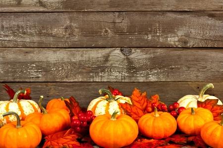 hojas antiguas: Grupo de hojas de otoño y calabazas contra un viejo fondo de madera