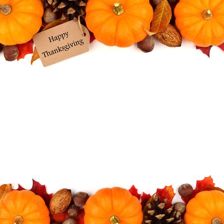 Happy Thanksgiving tag with autumn double border of pumpkins, leaves and nuts isolated on white Stockfoto