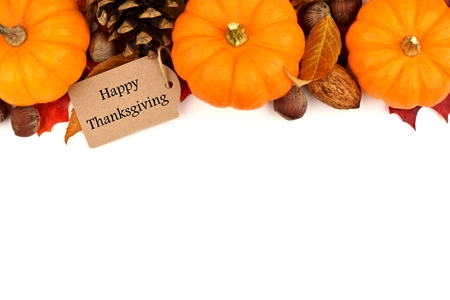 Happy Thanksgiving tag with autumn top border of pumpkins leaves and nuts isolated on white