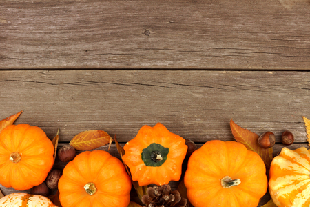 madera rústica: Frontera del otoño de las calabazas y las hojas contra un fondo rústico de madera vieja