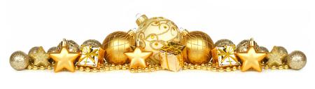 金の装飾品のプレゼントと白い背景で隔離のビーズのクリスマス国境