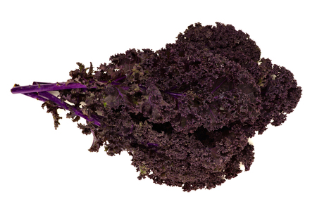 curly: Bunch of fresh red kale leaves isolated over a white background