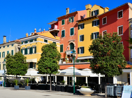 town houses: Colorful Venetian style houses in the old town of Rovinj Croatia