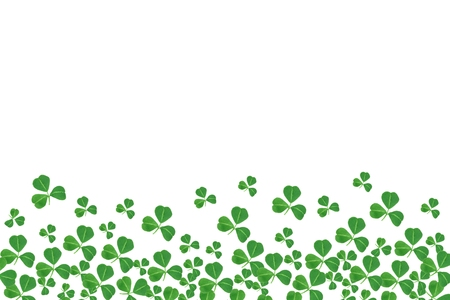 cloverleaf: St Patricks Day bottom border of shamrocks over a white background