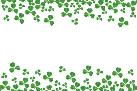St Patricks Day double border of shamrocks over a white background 写真素材