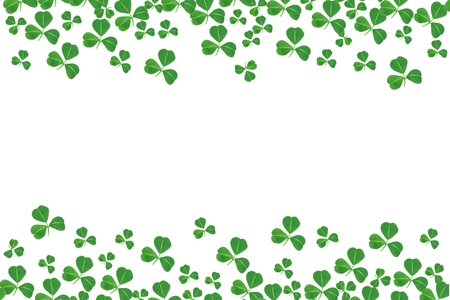 St Patricks Day double border of shamrocks over a white background