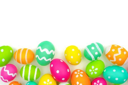 Colorful Easter egg bottom border against a white background
