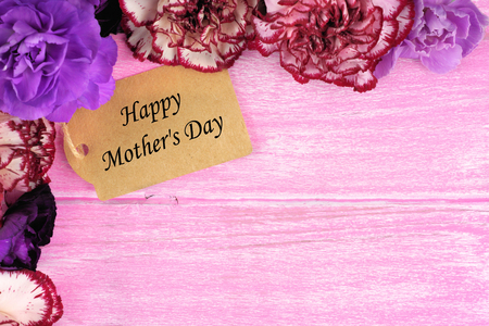 carnations: Happy Mothers Day gift tag with carnation flower corner border on rustic pink wood background
