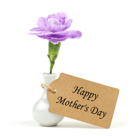 Happy Mothers Day Tag With Small Vase And Single Purple Carnation