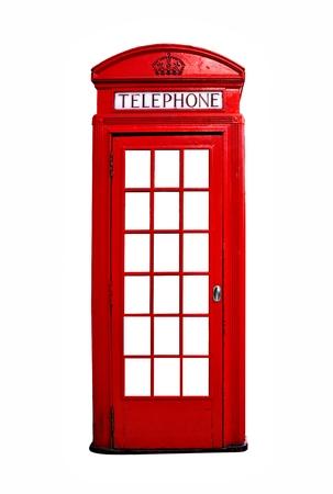 cabina telefonica: cabina de teléfono roja británica icónica aislado en un fondo blanco