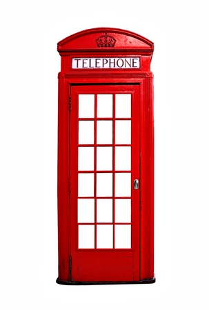 telephone: Iconic red British telephone booth isolated on a white background
