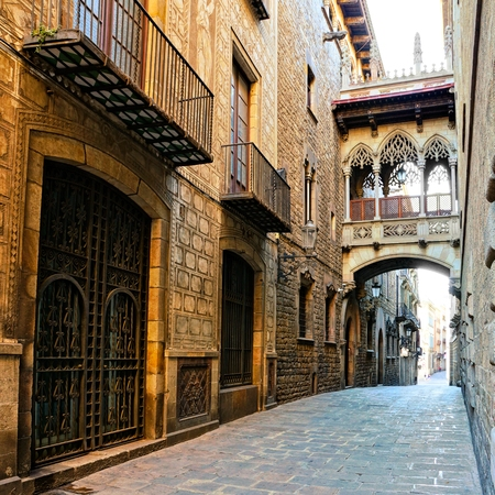 Beautiful covered bridge in the Gothic Quarter of old Barcelona Spain