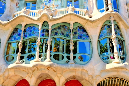 Close up of the Art Nouveau, Casa Batllo in Barcelona, Spain