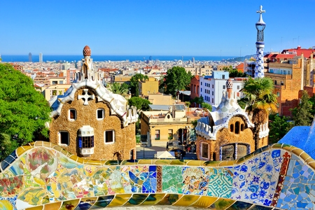 antoni: View over Antoni Gaudis artistic Park Guell in Barcelona, Spain