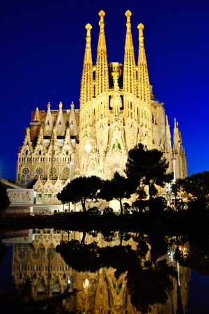 Sagrada Familia at night in Barcelona, Spain