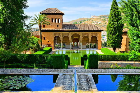 Gardens of the Partal Palace at the Alhambra, Granada, Spain