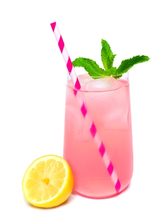 Glass of summer pink lemonade with mint and straw isolated on a white background Archivio Fotografico