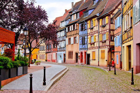 europe: Quaint colorful houses of the Alsatian city of Colmar, France