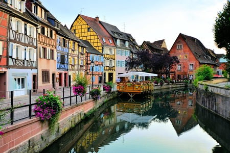 colmar: Evening view of the beautiful canals of Colmar, Alsace, France Stock Photo
