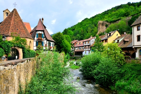 quaint: Picturesque view of the quaint town of Kayserberg, Alsace, France Stock Photo