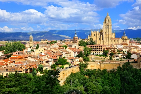 segovia: View over the town of Segovia, Spain with its cathedral and medieval walls Stock Photo