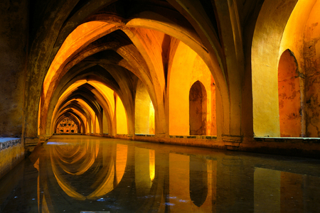 padilla: Royal baths at the Alcazar of Sevilla, Spain with reflections