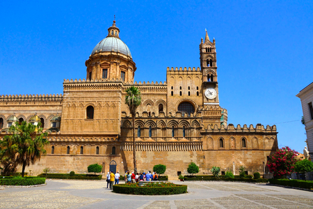 Ornate architecture of Palermo Cathedral, Sicily, Italy Stock Photo