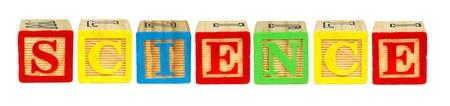 letter blocks: Wooden toy letter blocks spelling SCIENCE isolated on white