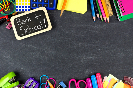 teaching material: Back to School chalkboard tag with school supplies double border on blackboard background