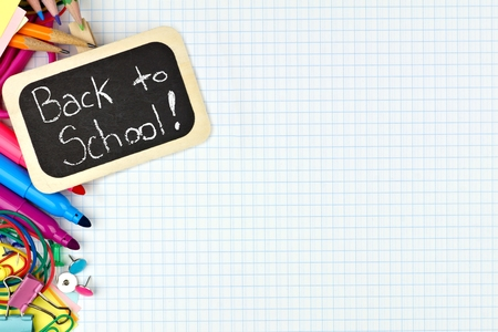 teaching material: Back to School chalkboard tag with school supplies side border on graphing paper background