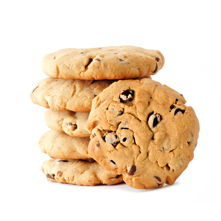 chocolate treats: Stack of homemade chocolate chip cookies with one facing out, isolated on white
